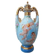 """Stunning France 1900 Hand Painted """"3 Frolicking Cherubs & Pink Petite Roses"""" 12-3/8"""" Potpourri Vase by the Artist, """"T. Bloehr"""""""
