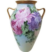"""Gorgeous Vintage 1915 Hand Painted """"Red, Pink, & Purple Mums"""" 8-3/8"""" Floral Vase by the Artist, """"May. Reynolds"""""""