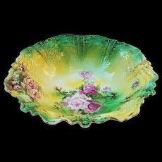 "Gorgeous Vintage RS Prussia 1900's ""Red & Pink Roses"" 10-3/4"" Floral Bowl"