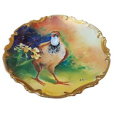"Attractive Coronet Limoges France 1900's Hand Painted ""Grouse"" 11-1/4"" Scenic Rococo Charger by the French Artist, ""A. Manty"""