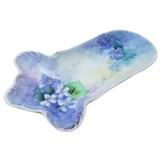 "Beautiful Vienna Austria Vintage 1900's Hand Painted ""Violets"" Footed Floral Spoon Holder by the Artist, ""N. Sheldon"""