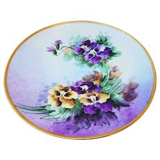 """Gorgeous Thomas Sevres Bavaria Vintage 1900's Hand Painted Vibrant """"Purple & Yellow Pansy"""" 9"""" Floral Plate by the Artist, """"W.C."""""""