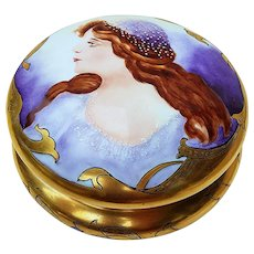"Impressive Vintage Limoges France 1900's Hand Painted ""Portrait of A Lady"" 7-1/4"" Portrait Dresser Box by the Artist, ""A.L. Baker"""