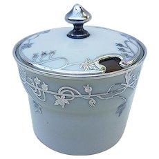 Gorgeous Lenox Vintage 1900's Hand Painted Floral Silver Overlay Jam Jar