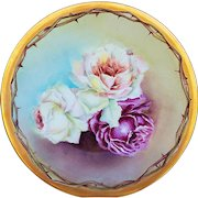 "Gorgeous T & V Limoges France 1900's Hand Painted ""Red, White & Peach Roses"" 9-1/2"" Floral Plate by the Artist, ""S.A."""
