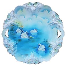 "Large 11"" RS Prussia 1900's Vintage ""Swans on the Lake"" Spectacular Scenic Icicle Mold Plate"