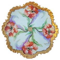 "Exquisite Rosenthal Bavaria 1900's Hand Painted ""Burnt Orange Poppy"" Fancy Scallop Floral Plate"