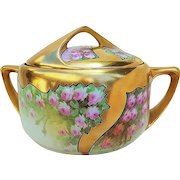 "50% OFF  Spectacular Rosenthal Bavaria & Osborne Studio of Chicago 1914 Hand Painted ""Petite Pink Roses"" Heavy Gilded Gold Floral Cracker Jar by Listed Artist, ""Asbjorn Osborne"""