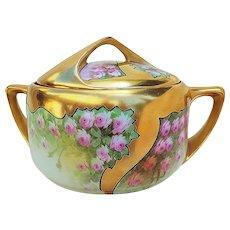 "50% OFF  Spectacular Rosenthal Bavaria & Osborne Studio of Chicago 1914 Hand Painted ""Petite Pink Roses"" Heavy Gilded Gold Floral Cracker Jar by Listed Artist, ""Asbjorn Osborne"""