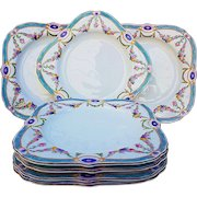 """50% OFF  Royal Worcester 1891 Set of 8 Hand Painted """"Chain of Petite Pink, Lavender, & Yellow Enamel Roses"""" Floral 8"""" x 8"""" Luncheon Plates"""