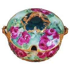 """Fabulous CFH GDM Limoges France 1900's Hand Painted Vibrant """"Deep Red Roses"""" 10-3/4"""" Floral Tureen - Red Tag Sale Item"""