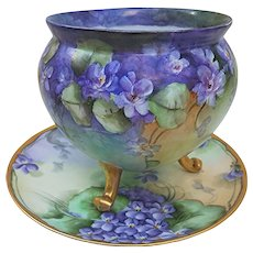 "Outstanding Bavaria 1900's Hand Painted ""Violets"" 3-Footed Floral Vase"