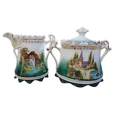 """Gorgeous RS Prussia 1900's """"Double Scenic Mill & Castle"""" Sugar & Creamer"""