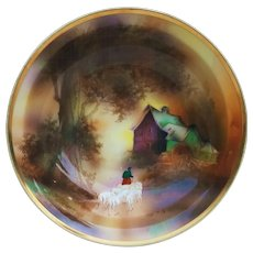 """Gorgeous RS Prussia Vintage 1900s Hand Painted """"Sheepherder Herding by the Mill"""" 8-1/2"""" Scenic Bowl"""
