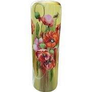 "Gorgeous Vintage O.E. & G Vienna Austria 1900's Hand Painted ""Burnt Orange, Pink, & Purple Poppy"" 14-1/2"" Floral Vase by the Artist, ""L.Q."""
