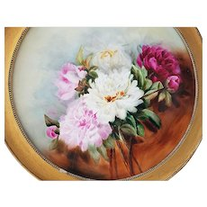 "50% OFF  18-3/4"" Fabulous Vintage J.P.L France Limoges 1900's Hand Painted ""Red, Pink, & White Roses"" Floral Plaque"