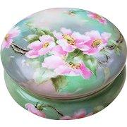 "Beautiful T & V Limoges France 1900's Hand Painted ""Lenten Roses"" 6"" Floral Dresser Box"