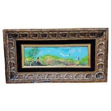 "Gorgeous 17"" ""Children & Sea Gulls By the Shore"" Scenic Enamel Copper Plaque"