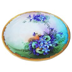 "Attractive Favorite Bavaria 1900's Hand Painted ""Violets"" 9-1/8"" Floral Plate, by Early Chicago Artist, ""Minnie Perl"""