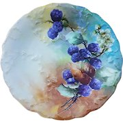 """Gorgeous CA France Limoges 1900's Hand Painted """"Blackberry"""" Fruit Plate"""