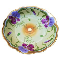 "Stunning T & V Limoges France & J.H. Stouffer Studio of Chicago 1906 Hand Painted ""Purple & Lavender Iris"" 9-3/4"" Floral Bowl by Listed Artist, ""Ernest Feix"""
