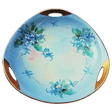 """Striking 1915 Hand Painted """"Forget Me Not"""" Floral 3-Handle Bon-Bon Dish by Early Listed Chicago Artist, """"Elsie Bieg"""""""