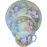 """50% OFF  """"Paul Putzki"""" Bavaria 1900 Hand Painted """"Pink Roses"""" Floral Cup, Saucer, & Lunch Plate Set"""