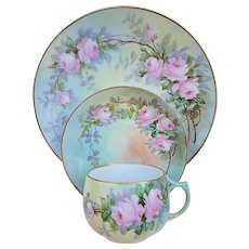 "50% OFF  ""Paul Putzki"" Bavaria 1900 Hand Painted ""Pink Roses"" Floral Cup, Saucer, & Lunch Plate Set"