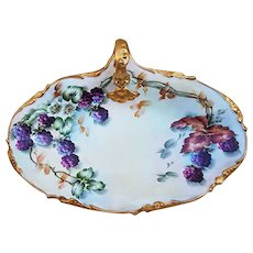 "Outstanding J.P.L. France Limoges 1900's Hand Painted ""Blackberry"" 10"" One-Handle Tray by the Artist, ""L. Davis"""