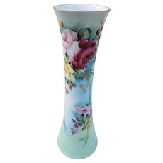 """Beautiful Bavaria Vintage 1900's Hand Painted """"Red, Pink, & Yellow Roses"""" 11-3/8"""" Corset Floral Vase by the Artist, """"F.H. Jarvis"""""""