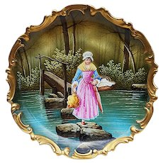 "Fabulous Limoges France Blakeman & Henderson 1900's Hand Painted ""Lady Journeying Home From the Market"" 12-3/8"" Rococo Scenic Charger by French Artist, ""Baumy"""