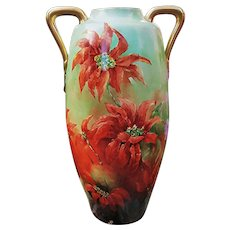 """Gorgeous Austria 1900's Hand Painted """"Poinsettia Christmas Flowers"""" 17-1/8"""" Floral Vase by the Artist, """"E. Sharpe"""""""