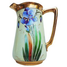 """Attractive E.W. Donath Studio of Chicago 1905 Hand Painted """"Iris"""" 7-1/2"""" Floral Pitcher"""