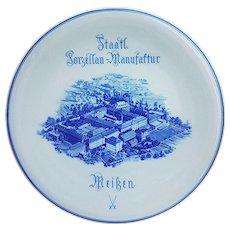 "Wonderful Meissen 1900's Staatl Porzellan-Manufaftur Factory 12-1/8"" Retailer's Advertising Plate"