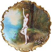 """Exceptional B & H France Limoges 1900 Hand Painted """"Diana the Huntress"""" Goddess of the Hunt 12-1/4"""" Rococo Scenic Nude Charger by the Listed French Artist, """"DuBois"""""""