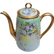 "Gorgeous Wight Art Studio 1900's Hand Painted Vibrant ""Red, Pink, & Yellow Roses"" 9-1/2"" Floral Tea Pot by Pickard Artist, ""Phillip Wight"""
