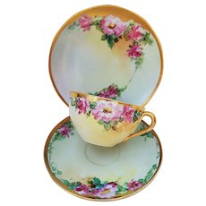 """Gorgeous Bavaria 1915 Hand Painted """"Pink Roses"""" 3-Pc Floral Cup, Saucer, & Plate Set by Listed Chicago Artist, """"Ida Sommer"""""""