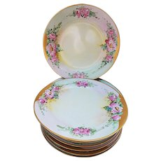 """Beautiful Elite Germany 1915 Hand Painted """"Pink Roses"""" 10-Pc Floral Plate Set by Listed Chicago Artist, """"Ida Sommer"""""""
