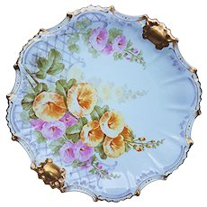 """Attractive LDBC Flambeau Limoges France 1900 Hand Painted """"Pink & Yellow Morning Glory"""" 9-1/2"""" Floral Plate by the French Artist, """"Baiz"""""""