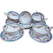 """Royal Worcester 1891 Set of 7 Hand Painted """"Chain of Petite Pink, Lavender, & Yellow Enamel Roses"""" Floral Cups & Saucers"""