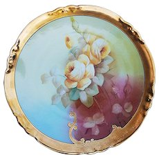 "Gorgeous AKD France Limoges & E.W. Donath Studio of Chicago 1900's Hand Painted ""Yellow Roses"" 8-3/4"" Floral Plate by Listed Artist, ""M. Rost LeRoy"""