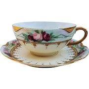 """Beautiful Havilland France 1906 Hand Painted Chain of """"Red & Pink Roses"""" Floral Cup & Saucer Set by the Artist, """"F.D.W."""""""