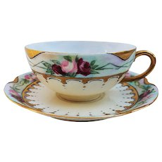 "Beautiful Havilland France 1906 Hand Painted Chain of ""Red & Pink Roses"" Floral Cup & Saucer Set by the Artist, ""F.D.W."""