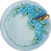 """Beautiful Bavaria Vintage 1900's Hand Painted """"Forget Me Not"""" Floral Nappy by Artist, """"A. Larson"""""""