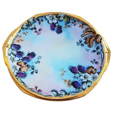 "Attractive MZ Austria Vintage 1900's Hand Painted ""Blackberry"" 11"" Fruit Plate with Cut Out Handles by the Artist, ""L. Davis"""