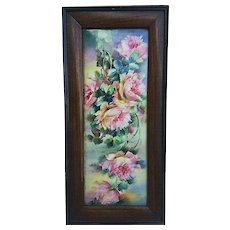 "Fabulous Vintage Limoges France 1900's Hand Painted Vibrant ""Pink Roses"" 12"" Floral Plaque"