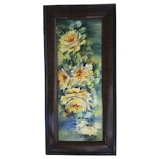 "Exceptional Vintage Limoges France 1900's Hand Painted Vibrant ""Yellow Roses"" 12"" Floral Plaque"