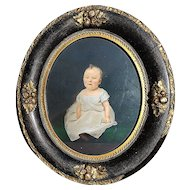 Outstanding Vintage 1876 Hand Painted Baby Portrait of Mabel W. Walton Brown, Geneseo, Illinois