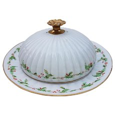 """A. Lantermer & Co. Limoges France 1900's Hand Painted """"Christmas Holly & Berry"""" Pancake Warmer"""