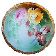 """Beautiful Vintage Ginori 1900's Hand Painted """"Pink & Yellow Roses"""" 10"""" Floral Plate by Artist, """"S. Barry"""""""